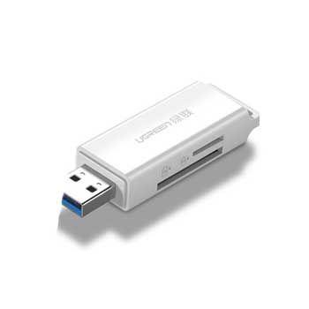 Đầu Đọc Thẻ Nhớ SD/TF USB 3.0 Ugreen 40753 (Trắng)